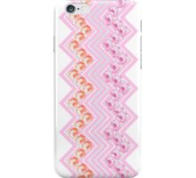 Cute girly pink orange roses flowers chevron  iPhone Case/Skin
