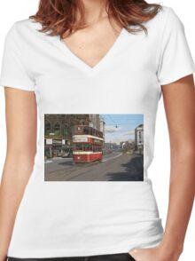 Leeds Tram Street Scene 1950s Women's Fitted V-Neck T-Shirt