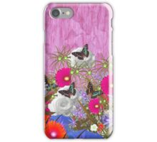 Vintage brown butterfly fuchia floral pattern iPhone Case/Skin