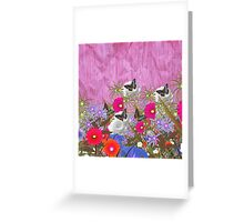 Vintage brown butterfly fuchia floral pattern Greeting Card