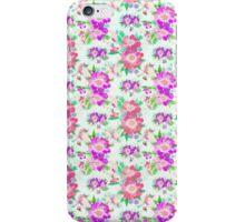 Vintage pink purple green floral pattern iPhone Case/Skin