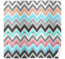 Modern pink teal black ikat pattern Poster