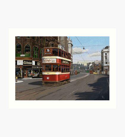 Leeds Tram Street Scene 1950s Art Print