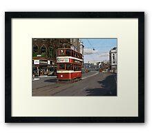 Leeds Tram Street Scene 1950s Framed Print