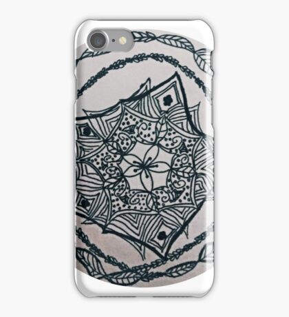 Black ink doodled flower with fine liner.  iPhone Case/Skin