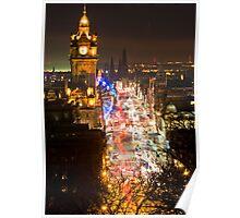 Edinburgh Princes Street at night Poster