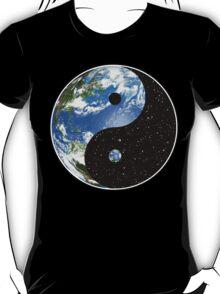 Earth / Space Yin Yang Symbol T-Shirt