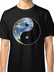 Earth and Space Yin Yang Symbol Classic T-Shirt