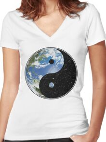 Earth / Space Yin Yang Symbol Women's Fitted V-Neck T-Shirt