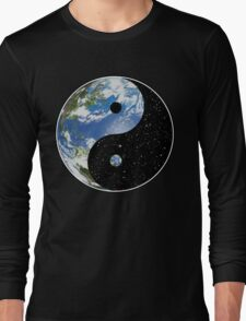 Earth / Space Yin Yang Symbol Long Sleeve T-Shirt