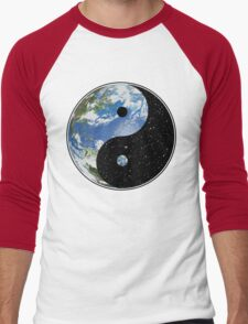 Earth / Space Yin Yang Symbol Men's Baseball ¾ T-Shirt