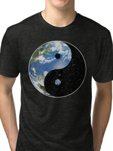 Earth and Space Yin Yang Symbol Tri-blend T-Shirt