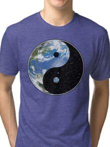Earth / Space Yin Yang Symbol Tri-blend T-Shirt