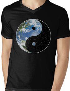 Earth and Space Yin Yang Symbol Mens V-Neck T-Shirt
