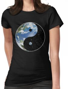 Earth and Space Yin Yang Symbol Womens Fitted T-Shirt