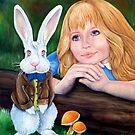 Alice sees the white rabbit by whiterabbitart