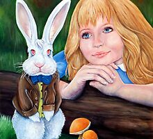 Alice sees the white rabbit by whiterabbitart