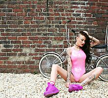 Pink Swimsuit and Chrome Chopper by SwimsuitProject