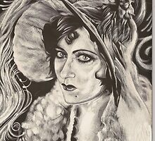 Vintage woman scratchboard by herenorthereart