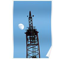 Crane and Moon Poster