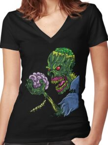 BRAINS!!! Women's Fitted V-Neck T-Shirt