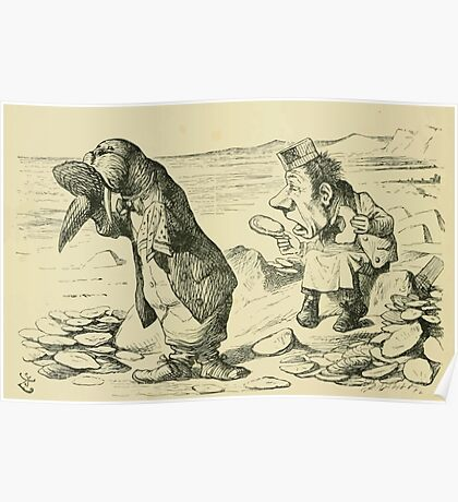 Through the Looking Glass Lewis Carroll art John Tenniel 1872 0098 The Walrus and the Carpenter Poster
