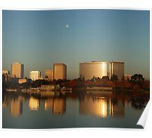 Lake Merritt Sunrise-Moonset, Oakland, California Poster