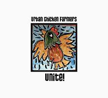 Urban Chicken Farmers Unite! Womens Fitted T-Shirt