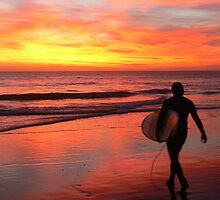 Late Surf in the Colours of a Moroccan Sunset by BGpix