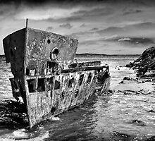 HMQS Gayundah wreck (B&W) by Tony Steinberg