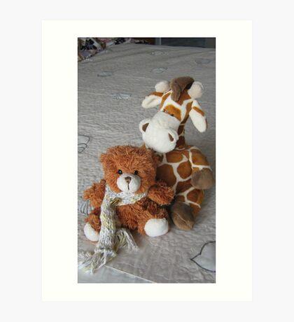 Toy Giraffe and Little Teddy Bear. Art Print