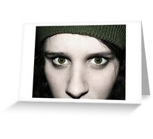 Green Eyed Girl - Self Portrait. Greeting Card