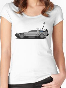 The DeLorean Time Machine, Back to the Future Women's Fitted Scoop T-Shirt