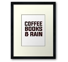 Coffee books & rain Framed Print