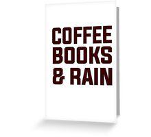 Coffee books & rain Greeting Card