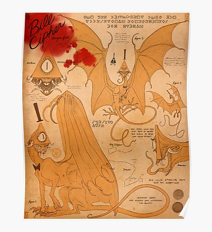 Bill Cipher Dragon - Journal Page Poster