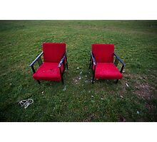 Two red armchairs in grass Photographic Print