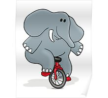 Cyclists Elephant Poster
