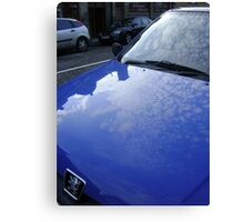 sky blue car Canvas Print