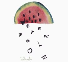 Watercolor illustration of watermelon on texture paper. Vector illustration. by OlgaBerlet