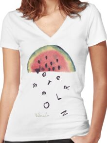 Watercolor illustration of watermelon on texture paper. Vector illustration. Women's Fitted V-Neck T-Shirt