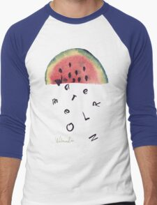 Watercolor illustration of watermelon on texture paper. Vector illustration. Men's Baseball ¾ T-Shirt