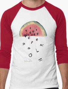 Watercolor illustration of watermelon on texture paper. Vector illustration. Men's Baseball ¾ T-Shirt