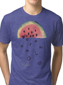 Watercolor illustration of watermelon on texture paper. Vector illustration. Tri-blend T-Shirt
