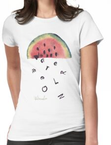 Watercolor illustration of watermelon on texture paper. Vector illustration. Womens Fitted T-Shirt