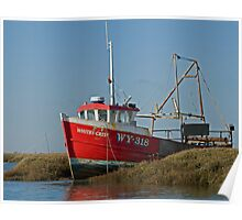 The Red Fishing Boat At Burnham Overy Norfolk Poster