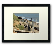Collapsed concrete ramp at Happisburgh Beach Norfolk Framed Print