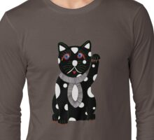 Black Maneki Neko (Lucky Cat) Long Sleeve T-Shirt
