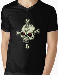 Skull & Cross Bones Mens V-Neck T-Shirt