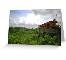 Rural house and landscape in East Bali Greeting Card